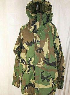 13321d2b Adventure Tech Woodland Camo EWCS Goretex Cold Weather Parka Jacket Coat  LARGE Woodland Camo, Work