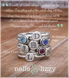 Sterling Silver Family Stacked Mothers Ring By Nelle and Lizzy