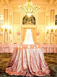 $12.78 - Rose Gold 48'' Round Sequin Table Cloth Cover For Wedding/Event/Party/Banquet #ebay #Home & Garden