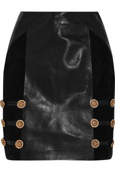 Versace Suede-paneled leather mini skirt | NET-A-PORTER