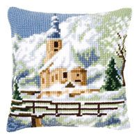 Church Cross Stitch Cushion Kit By Vervaco Cross Stitch Cushion, Easy Stitch, Stitch Kit, Crochet Cushions, Needlepoint Pillows, Theme Noel, Hand Painted Canvas, Kirchen, Le Point