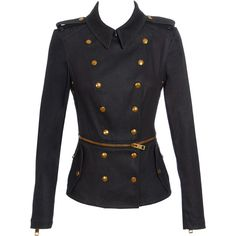 Burberry Prorsum Military denim jacket. The bottom of the jacket is removable at the waist via an exposed gold zip.