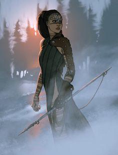 Huntress character design by Matt Rhodes.