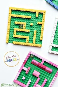 You are ah-MAZE-ing Valentine for kids. This LEGO mini marble maze and free prin… You are ah-MAZE-ing Valentine for kids. This LEGO mini marble maze and free printable gift tag are sure to be a hit with kids this Valentine's Day. Stem Activities, Activities For Kids, Activity Ideas, Lego Avengers, Lego Batman, Kids Crafts, Creative Crafts, Lego Maze, Pokemon Lego