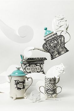 Sketched Story Tea Set #anthropologie  |  I have the tea pot, measuring pitcher, and the cream and sugar set already.