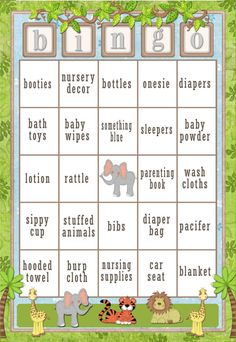 60 card Jungle Baby Shower Bingo Safari by SunnysideCottageArt  See our safari themed baby gifts at http://www.mouseandmarker.com/personalized-safari-theme-baby-gifts/