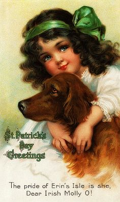 Victorian Fabric Block St Patrick's Day Irish Setter Postcard printed on fabric St Patrick's Day, Vintage Greeting Cards, Vintage Postcards, Vintage Images, Holiday Postcards, St Patricks Day Cards, Happy St Patricks Day, Fete Saint Patrick, Books Art