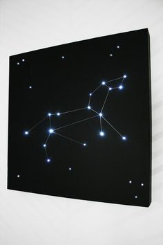 How to build a constellation light for a little astronomy in the bedroom. Materials you need: Black foam board, Battery powered LED lights, Box cutter/X-Acto knife, Hot glue gun, Awl/screwdriver, Silver Sharpie