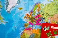 Wereld - Landen - Thema reisbureau - Klas van juf Linda Around The Worlds, Diagram, Camping, Teaching, Europe, Africa, Seeds, Campsite, Learning