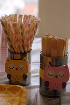 fun idea for woodland part - silhouette the owls and use soup and for utensil holders