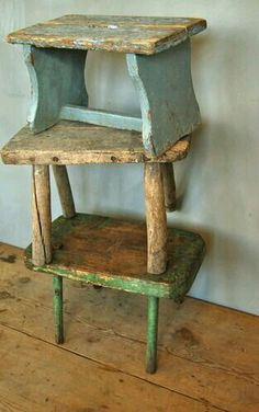 Old wooden  stools