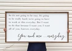 Large Above Bed Sign, You And Me Everyday Framed Wood Sign, The Notebook Home Decor, Movie Quote Custom Wall Art, Love Sayings by 4Lovecustomgifts on Etsy https://www.etsy.com/listing/532929605/large-above-bed-sign-you-and-me-everyday