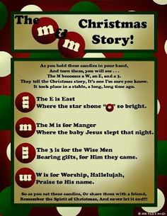 The M Christmas Story~ What a wonderful idea! Another way to keep Christ in Christmas! Classroom treats- Goodie bag- Christmas Ideas – Neighborhood Gifts « My Heart & HomeHappy Birthday Jesus closing Xmas party Christmas Bags, A Christmas Story, Christmas Treats, All Things Christmas, Winter Christmas, Christmas Decorations, Christmas Poems, Preschool Christmas, Christmas Parties