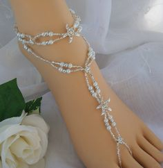 Starfish Foot Jewelry Wedding Starfish Barefoot Sandal & Anklet Set via Etsy