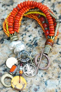 Exotic Rustic Orange, Yellow, Brass and Silver Charm Bracelet