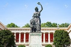 Theresienwiese to see the statue of the Maiden of Bavaria, who watches over Munich in legend. Go inside the statue and climb up the 130 steps in order to peer through her eyes at the bird's-eye view of the city.