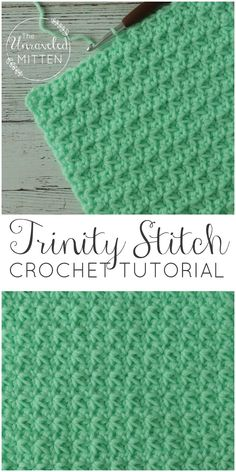 Trinity Crochet Stitch Tutorial The Unraveled Mitten Easy Textured Crochet Stitch Great for baby blankets, scarves, hats, home decor baby stuff and more!The Trinity crochet stitch is made up of clusters of single crochets that start in the same stitch the Stitch Crochet, Crochet Motifs, Crochet Dishcloths, Crochet Stitches Patterns, Stitch Patterns, Crochet Stitch Tutorial, Crochet Afghans, Tunisian Crochet Stitches, Afghan Patterns