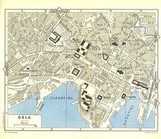 Oslo Vintage City Map 1955  Street Plan Norway