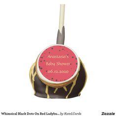 Whimsical Black Dots On Red Ladybug Pattern Colors Cake Pops