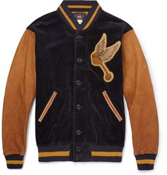 RRL - Wakefield Corduroy and Leather Varsity Jacket|MR PORTER