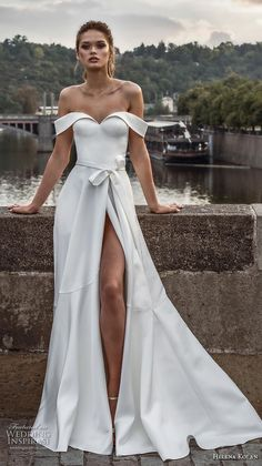 95cf1b731bb7 helena kolan 2019 bridal off the shoulder sweetheart neckline simple clean  slit skirt minimalist elegant a