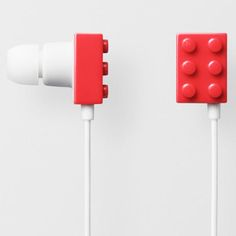 LEGO Play brick Earphones with 2x3 brick on the outside of each ear bud.