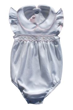 Delicate White and Pink hand smocked bubble Peter Pan collar Angel sleeves