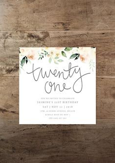 Neutral Watercolour 21st Invitation Printable Birthday Foliage Floral