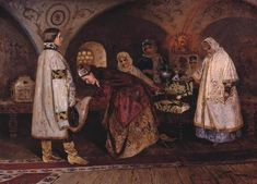 The first meeting of Tsar Alexei Mikhailovich, the boyar's daughter with Maria Ilyinichna Miloslavskaya (Choice of Royal bride) by Mikhail Vasilyevich Nesterov: History, Analysis & Facts Pictures Of Russia, Royal Brides, Post Impressionism, Art Database, Russian Art, Oil On Canvas, Poster Size Prints, Fine Art America, Photo Wall Art