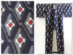 Navy Blue Kasuri Japanese Vintage Kimono Costume by CJSTonbo