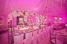 Beautiful pink design from Pandora Vanderpump's wedding (Real Housewives of Beverly Hills) Fantastically glamorous inspiration for floral decoration and table/place setting.