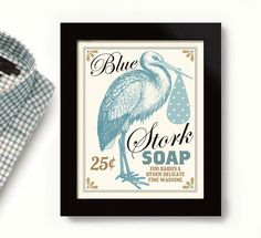 Laundry Room Decor, Babies Room, Wall Art Print, Stork Art, Laundry Sign
