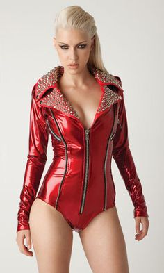 Red Vinyl Moto romper bodysuit with Silver studs on leather collar. $400.00, via Etsy.