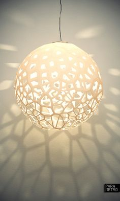 Ball lamp with its cellular texture in the shadows Luminaire Mural, Luminaire Design, Cool Lighting, Lighting Design, Bubble Lamp, Brass Lamp, Deco Design, Lamp Shades, Light And Shadow