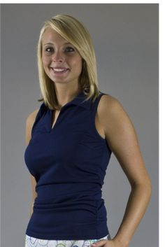 Wear to Win Shirts - Slimming Ruched Navy.  Buy it @ ReadyGolf.com Womens Golf Shirts, Golf Outfit, Ladies Golf, Skort, Basic Tank Top, High Neck Dress, Slim, Navy, Tank Tops