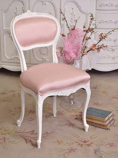 pink shabby chic | shabby cottage chic pink vanity chair photo DollCore Fashion Blog's ...