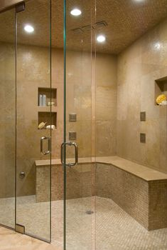 Fabulous bath storage ideas - traditional home ® shower storage, bath stora Built In Shower Seat, Corner Shower Bench, Corner Showers, Shower Benches, Corner Bench, Big Shower, Walk In Shower, Attic Shower, Dream Shower