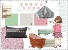Roze met lichtgrijs en mintgroen. Heel veel inspiratie voor een meisjeskamer op dit moodboard van #wonenvoorjou