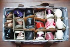 Genius Ways to Keep Shoes Tidy Just one more use for the Lg Utility Tote.just add wine box dividers and you have a great shoe storage tote.Just one more use for the Lg Utility Tote.just add wine box dividers and you have a great shoe storage tote. Kids Clothes Organization, Organisation Hacks, Organizing Shoes, Organizing Ideas, Organizing Solutions, Diy Organization, Thirty One Organization, Shoe Storage Solutions, Diy Shoe Storage