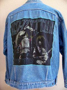 "BAREFOOT VINTAGE ORIGINAL LED ZEPPELIN 1975 TOUR LEVI'S JEAN JACKET L #110 ""SOLD"""