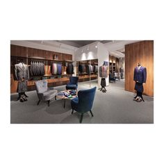 For an indelible image as you are eyeing your future suit or tie, we set the furniture on the wall to create an overview effect that guides you to the crescendo of the space👔  It consists of a round table with comfortable chairs where conversations are about to start anytime a client wants custom items or needs to discuss the details for his future acquisition✂️✨ 📸 @alex.mateiu.visual Custom Items, Design Projects, Chairs, Pure Products, Suits, Future, Interior Design, Space, Create