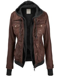 THIS ONE :) runs small. Maybe med or large? Lock and Love Women's Removable Hoodie Motorcyle Jacket S CAMEL