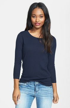 Halogen® Three Quarter Sleeve Sweater (Regular & Petite) available at #Nordstrom