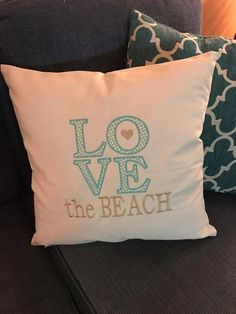 LOVE w/ Text, True Turquoise & Sunset Gold, Statement Canvas Pillow, Thirty-One, www.mythirtyone.com/msgraham