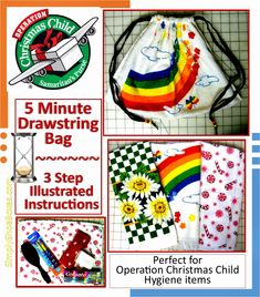 3-Step, Five Minute Drawstring Tote Bag