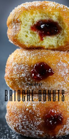 Rich, buttery, yet still fluffy, brioche donuts make a delicious dessert or sweet snack at any time of day. #donuts #dessert #snack #sweet Donut Recipes, Pastry Recipes, Gourmet Recipes, Snack Recipes, Dessert Recipes, Snacks, Best Breakfast Recipes, Sweet Breakfast, Easy Desserts