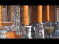 River Rock manufactured stone veneer from Kodiak Mountain Stone Rustic Outdoor Spaces, Outdoor Decor, Exterior House Colors, Exterior Design, Rock Siding, Manufactured Stone Veneer, Farmhouse Remodel, Farmhouse Ideas, House Yard