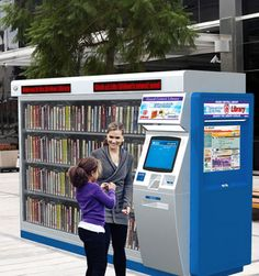 24hLibrary - Norman, OK library vending machine. Woah! So cool! Like a Redbox for books!