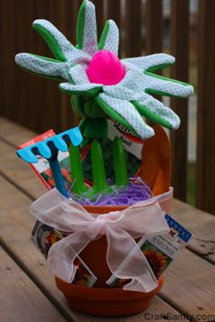 Gardeners gift dollar tree craft dollar stores gloves and teacher this flower pot easter basket concept is what our sons are getting this year for easter negle Image collections