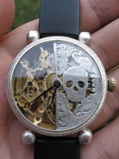 VINTAGE SILVER OMEGA HALF SKELETON SKULL BONES MASONIC POCKET WRIST WATCH SWISS